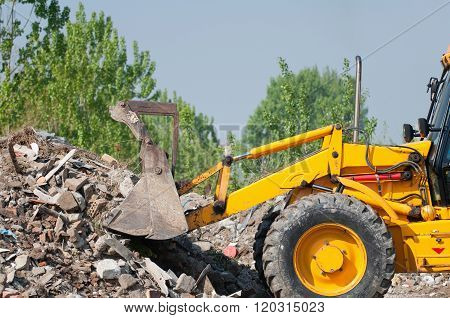 Loader Working With Rubble