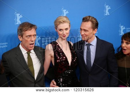 Berlin, Germany - February 18, 2016 - Tom Hiddleston, Hugh Laurie, Elizabeth Debicki  attend the 'The Night Manager' premiere during the 66th Berlinale International Film Festival