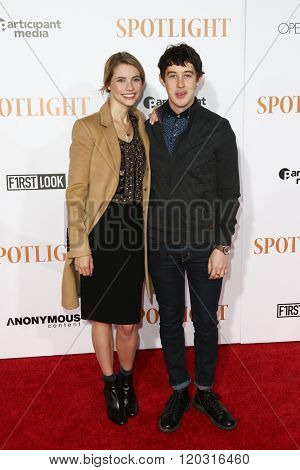 NEW YORK-OCT 27: Actors Wallis Currie-Wood (L) and Alex Sharp attend the 'Spotlight' New York premiere at Ziegfeld Theatre on October 27, 2015 in New York City.