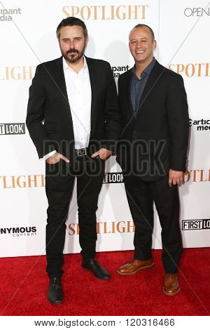 NEW YORK-OCT 27: Jeremy Scahill (L) and Michael Bloom attend the 'Spotlight' New York premiere at Ziegfeld Theatre on October 27, 2015 in New York City.