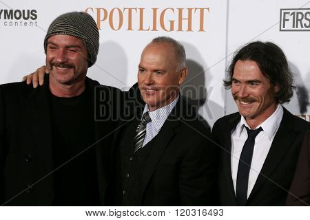NEW YORK-OCT 27: (L-R) Actors Liev Schreiber, Michael Keaton and Billy Crudup attend the 'Spotlight' New York premiere at Ziegfeld Theatre on October 27, 2015 in New York City.
