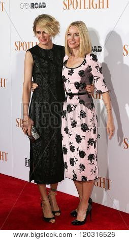 NEW YORK-OCT 27: Actress Naomi Watts (R) and Sunrise Coigney attend the 'Spotlight' New York premiere at Ziegfeld Theatre on October 27, 2015 in New York City.