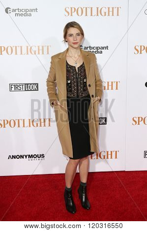 NEW YORK-OCT 27: Actress Wallis Currie-Wood attends the 'Spotlight' New York premiere at Ziegfeld Theatre on October 27, 2015 in New York City.