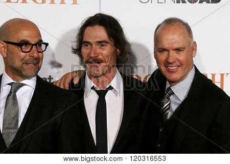 NEW YORK-OCT 27: (L-R) Actors Stanley Tucci, Billy Crudup and Michael Keaton attend the 'Spotlight' New York premiere at Ziegfeld Theatre on October 27, 2015 in New York City.