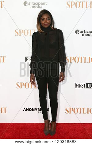 NEW YORK-OCT 27: Actress Patina Miller attends the 'Spotlight' New York premiere at Ziegfeld Theatre on October 27, 2015 in New York City.
