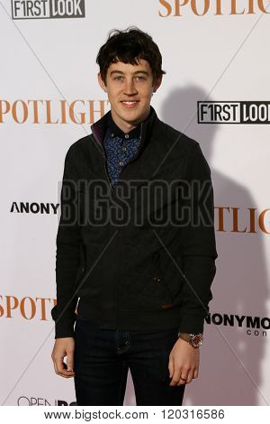 NEW YORK-OCT 27: Actor Alex Sharp attends the 'Spotlight' New York premiere at Ziegfeld Theatre on October 27, 2015 in New York City.