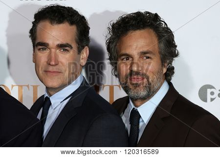 NEW YORK-OCT 27: Actors Brian d'Arcy James (L) and Mark Ruffalo attend the 'Spotlight' New York premiere at Ziegfeld Theatre on October 27, 2015 in New York City.