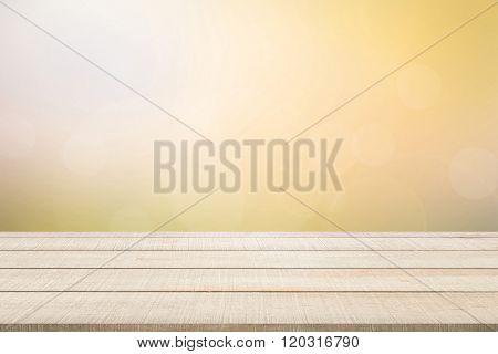 Wood Table Top Panel On Yellow Background
