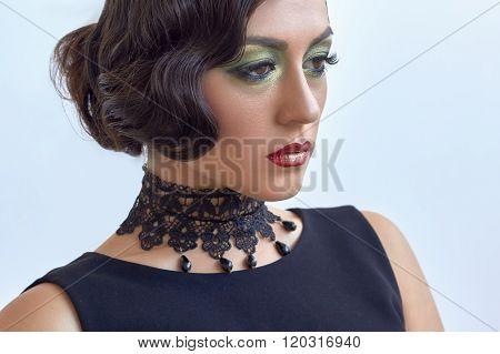 Retro Fashion Elegant Woman, Classic Black Dress, 1920S, Glam Hairstyle