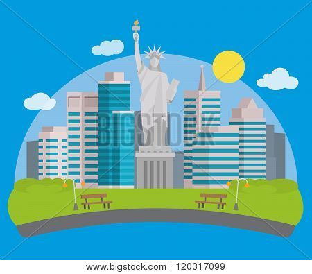Flat style banner with new york city view and the Statue of Liberty in front of it.