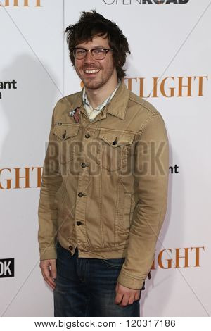NEW YORK-OCT 27: Actor John Gallagher Jr. attends the 'Spotlight' New York premiere at Ziegfeld Theatre on October 27, 2015 in New York City.