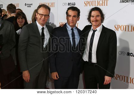 NEW YORK-OCT 27: (L-R) Actors Tom McCarthy, Brian d'Arcy James and Billy Crudup attend the 'Spotlight' New York premiere at Ziegfeld Theatre on October 27, 2015 in New York City.
