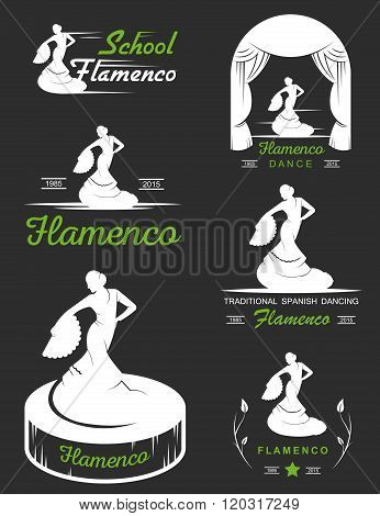 Set of vector logos badges and silhouettes Flamenco. Collection emblems of traditional Spanish dance signs school clubs shops and studios flamenco.