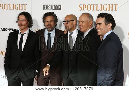 NEW YORK-OCT 27: (L-R) Actors Billy Crudup, Mark Ruffalo, Stanley Tucci, Michael Keaton and Brian d'Arcy James attend the 'Spotlight' premiere at Ziegfeld Theatre on October 27, 2015 in New York City.