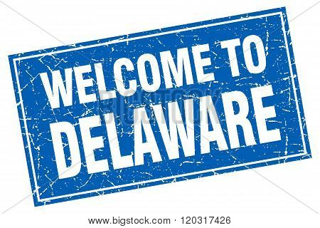 Delaware Blue Square Grunge Welcome To Stamp