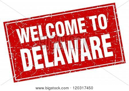 Delaware Red Square Grunge Welcome To Stamp