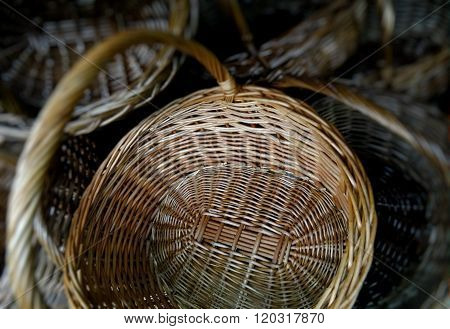Handicraft gift. Wicker baskets with handle closeup