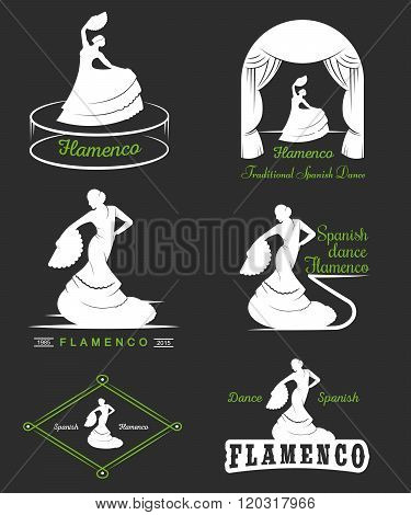 Set of vector logos badges and silhouettes Flamenco. Collection emblems of traditional Spanish dance signs school clubs shops and studios flamenco