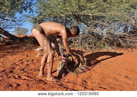 Bushman Hunter Kalahari Desert, Namibia
