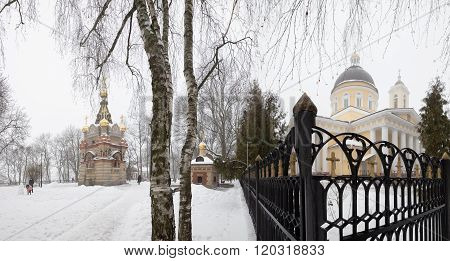 city Gomel - JANUARY 27: The architectural ensemble Paskevich Palace in the city park 27 January 201