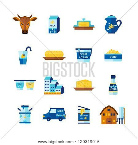 Milk Dairy Products Flat Icons Set