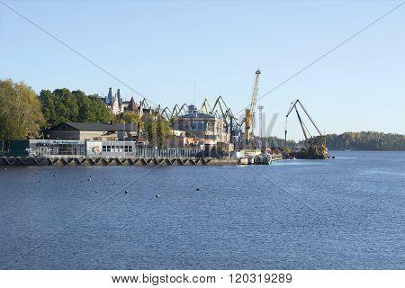 View of the Vyborg port cargo october afternoon. Leningrad region