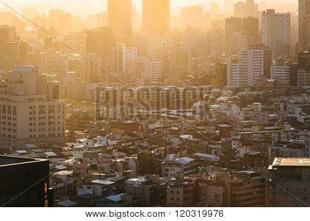 View Of Buildings In Haze At Sunset, From Elephant Mountain, In Taipei, Taiwan.