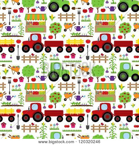 Seamless, Tileable Farming or Gardening Themed Vector Background Pattern