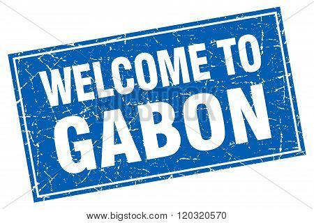 Gabon Blue Square Grunge Welcome To Stamp