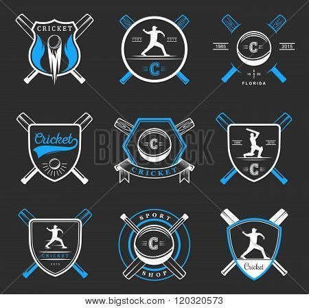 Set of vector logos and badges cricket. Collection of vintage signs symbols and emblems sports game of cricket. Set of cricket team emblem design elements