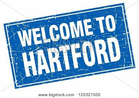 Hartford Blue Square Grunge Welcome To Stamp
