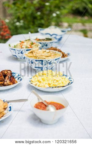 Healthy, fresh, spicy Indonesian food stock picture