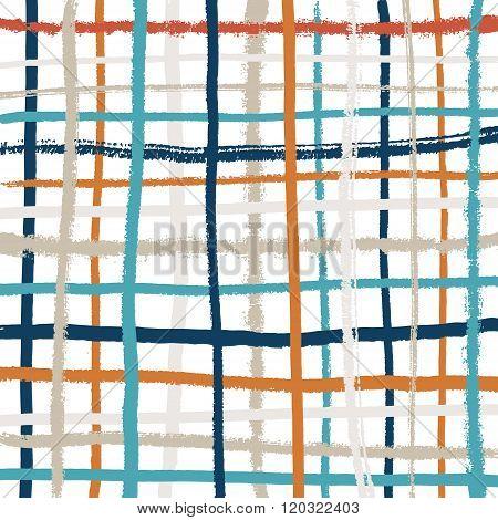 Vector Pattern Of Hand Drawn Grunge Lines. Square Tartan Pattern. Shabby Street Art Style.