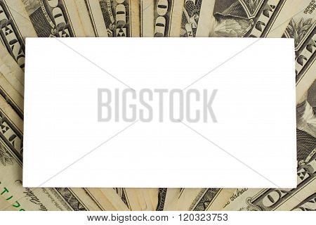 White paper card on US dollars