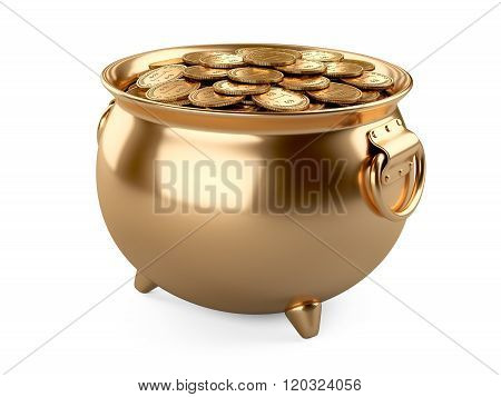Pot Of Gold. Cauldron Full Of Coins.