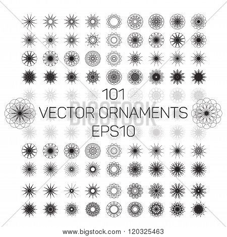 A set of 101 round spirograph geometric ornaments set. Vector illustration EPS10.