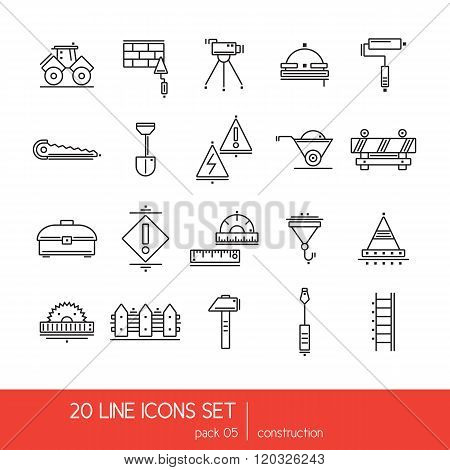 Thin lines icon collection - construstion stuff. Tools for work.