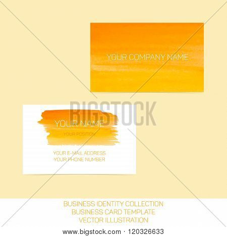 Business identity collection. Orange and yellow watercolor. Front and back sides for business card t