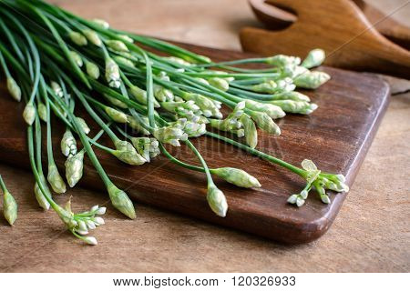 Garlic Chives Or Allium Tuberosum On Wooden Table Background