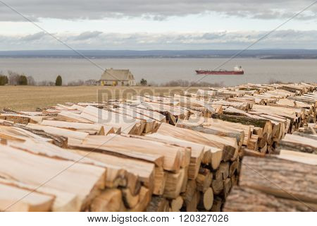 Firewood, Stone House And Freighter