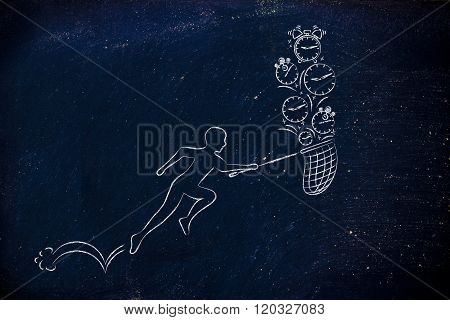 Man With Net Running To Catch Time (clocks And Alarms)