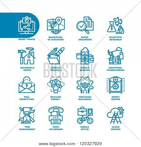 Business Fat Line Icon set for web and mobile. Modern minimalistic flat design elements of smart things, navigation of discovery, paper organizer, scientific research, complex project, mobile banking