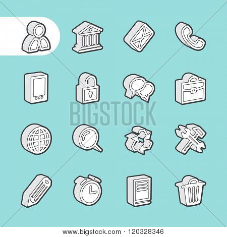 3D Fat Line Icon set for web and mobile. Modern minimalistic flat design elements of customer service, client support, success business management, work tools, banking services, office equipment