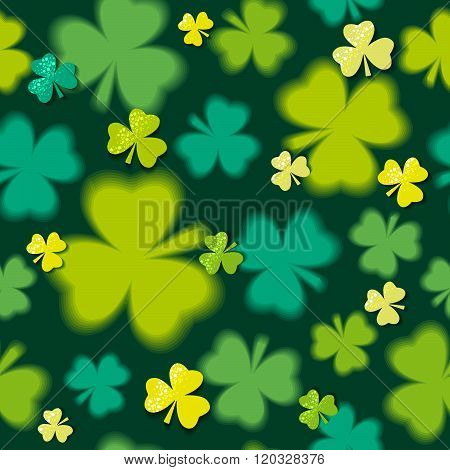 Green  Seamless Background For Patricks Day With Shamrock, Vector