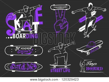 Set of skateboarding emblems logo badge labels and designed elements. Collection sign street art street life and graffiti