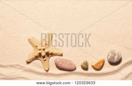 Starfish And Sea Stones On Sand. Summer Beach Background