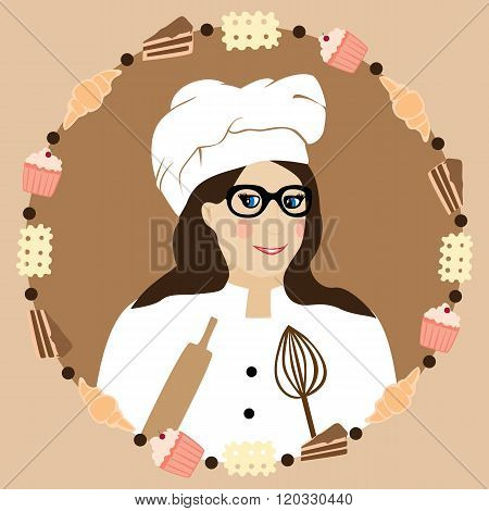 Cucing cute baker girl