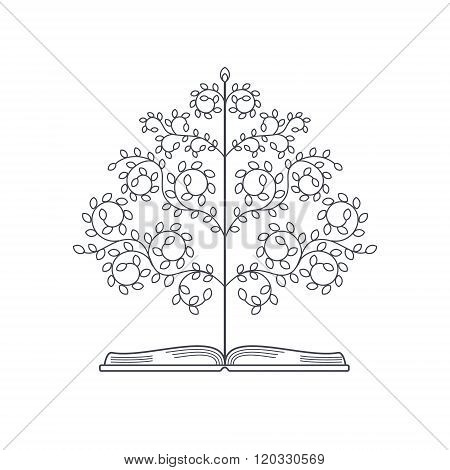 Tree Of Knowledge. Concept Of Knowledge Book With Tree. Linestyle Vector Illustration.
