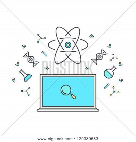 E-learning And Online Education. Internet As Knowledge Base. Chemical And Physical Elements Of Energ