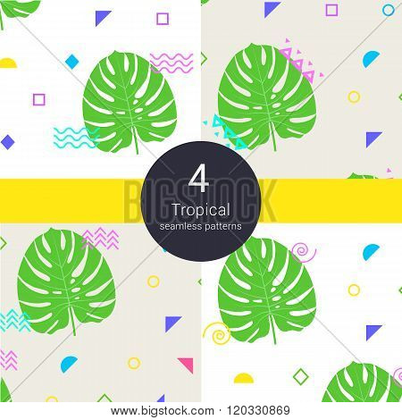 Abstract monstera tropical vector palm floral liana seamless background. Liana monstera palm leaves